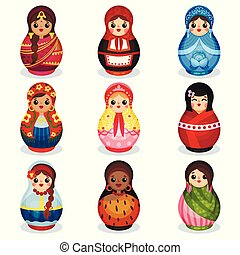 Nesting dolls set, wooden matryoshka in colorful costumes of different countries vector Illustration isolated on a white background