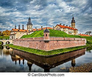 Belarusian tourist landmark attraction Nesvizh Castle - medieval castle in Nesvizh, Belarus