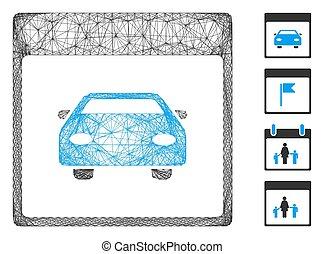 Net Automobile Car Calendar Page Vector Mesh