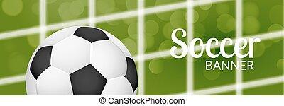 net., bola futebol, cartaz, futebol, obscurecido, grass., desenho, modelo, desporto, bandeira, ou