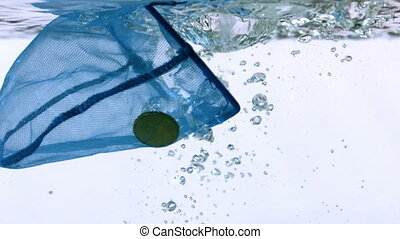 Net catching euro coins falling into water in slow motion