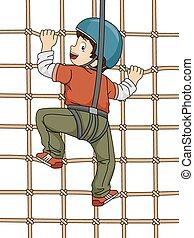 Illustration Featuring a Boy Climbing a Net Wall