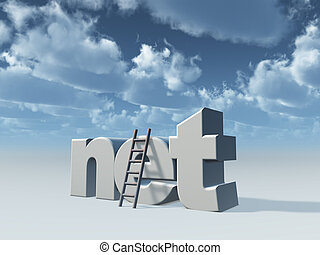net domain and ladder in front of cloudy sky - 3d...
