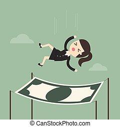 net., fallender , sicherheit, finanziell, geschäftsfrau