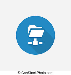 net folder Flat Blue Simple Icon with long shadow, isolated...