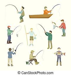 net, gieten, scheepje, visje, zittende , uitgeven, fishing...