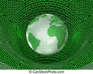 net., globe, numérique, map., mondiale, la terre, 3d
