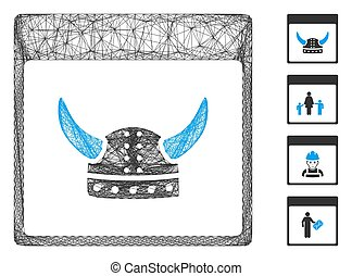 Vector wire frame horned ancient helmet calendar page. Geometric wire frame 2D net made from horned ancient helmet calendar page icon, designed from crossed lines. Some bonus icons are added.