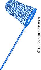 Net in blue design on white background
