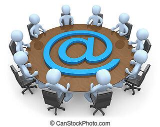 Net Meeting - 3d metaphor of a meeting through internet...