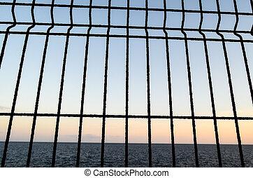 Net over the atlantic ocean