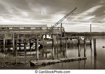 Net Shed and Floating Crane - Photo of a boat landing, ruins...