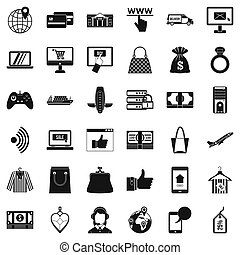 Net shopping icons set, simple style - Net shopping icons...
