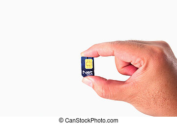 Net Sim card In a hand isolated on white background