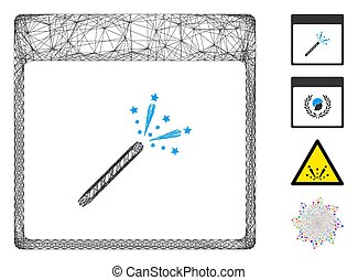 Vector wire frame sparkler firecracker calendar page. Geometric hatched frame 2D net generated with sparkler firecracker calendar page icon, designed from crossing lines. Some bonus icons are added.