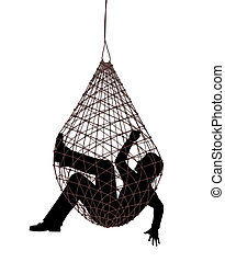 Net trap - Editable vector illustration of a man caught in a...