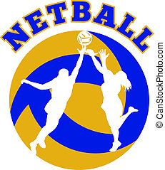 netball player jumping rebounding