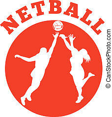 netball player jumping rebounding