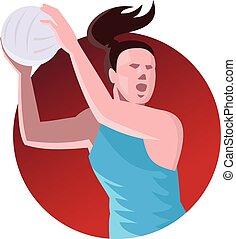 netball player pass ball front