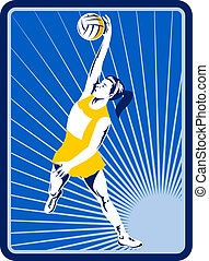 Netball player rebounding jumping