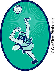 Netball player rebounding jumping for ball