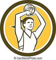 Netball Player Shooting Ball Circle Retro