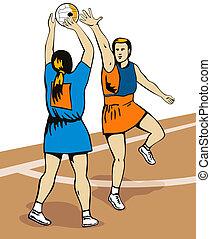 Netball Player Shooting