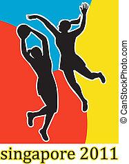 netball players jumping shooting blocking