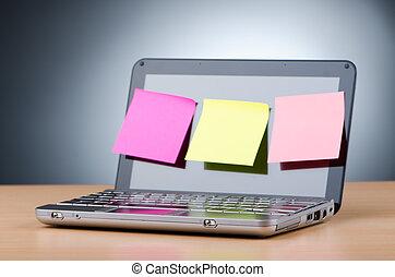 netbook, con, recordatorio, notas