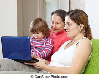netbook, generationen, drei, familie