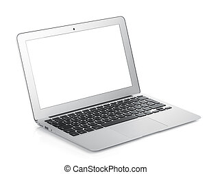 Netbook with white blank screen. Isolated on white ...