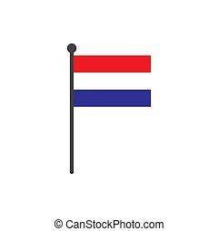 netherland, 旗, 隔離された, 棒, ベクトル, 背景, 白, アイコン