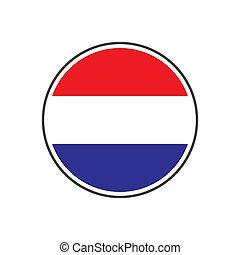 netherland, 隔離された, 旗, ベクトル, 背景, 円, 白, アイコン
