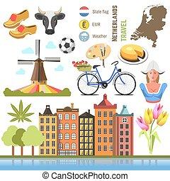 Netherland flat icons design travel concept.