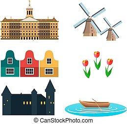 netherland, plano, iconos, diseño, travel.