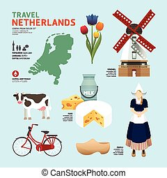 netherland, plano, iconos, diseño, viaje, concept.vector
