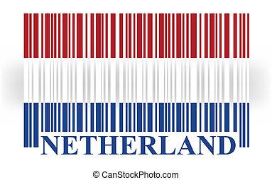 netherland, vecteur, drapeau, barcode