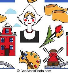 netherlands, オランダ, パターン, seamless, シンボル, 伝統
