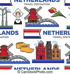 netherlands, オランダ, パターン, seamless, シンボル, 旅行, ∥あるいは∥