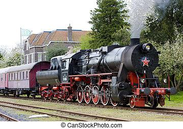 netherlands, 列車, -, stadskanaal, veendam, 蒸気