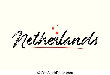 netherlands, 単語, 国, 活版印刷, デザイン, テキスト, ロゴ, アイコン