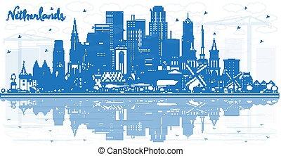 netherlands, 建物。, スカイライン, アウトライン, 青