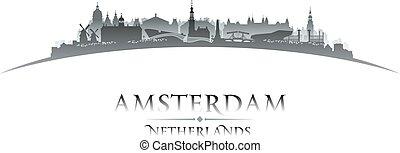 netherlands, 背景, アムステルダム, スカイライン, 都市, シルエット, 白