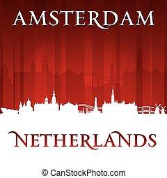 netherlands, 背景, アムステルダム, スカイライン, 都市, 赤, シルエット