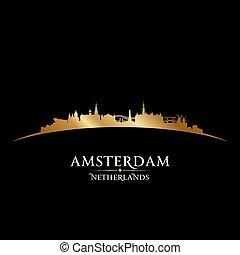 netherlands, 黒い背景, アムステルダム, スカイライン, 都市, シルエット