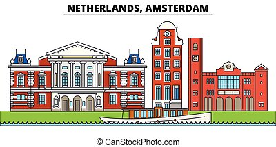 Netherlands, Amsterdam. City skyline, architecture, buildings, streets, silhouette, landscape, panorama, landmarks. Editable strokes. Flat design line vector illustration concept. Isolated icons