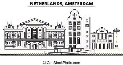 Netherlands, Amsterdam line skyline vector illustration. Netherlands, Amsterdam linear cityscape with famous landmarks, city sights, vector landscape.
