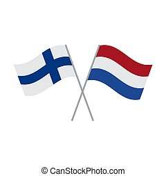 Netherlands and Finland flags vector isolated on white background