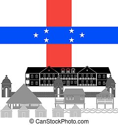 Netherlands Antilles - State flag and architecture of the ...