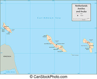 Netherlands Antilles - Vector map. Marked geographical and ...